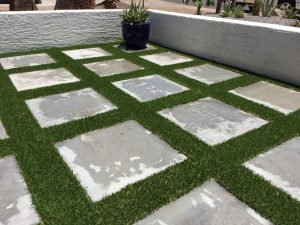 Artificial Turf With Stone Blocks